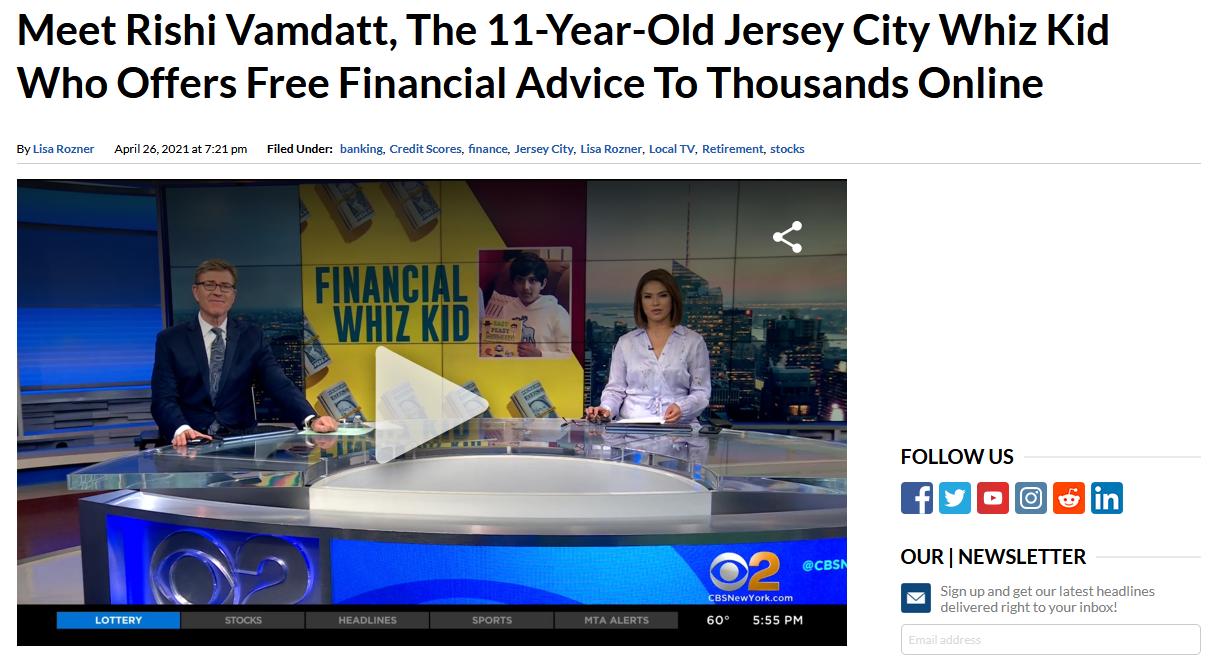 CBS New York TV ARTICLE Meet Rishi Vamdatt The 11-Year-Old Jersey City Whiz Kid - Top Screenshot