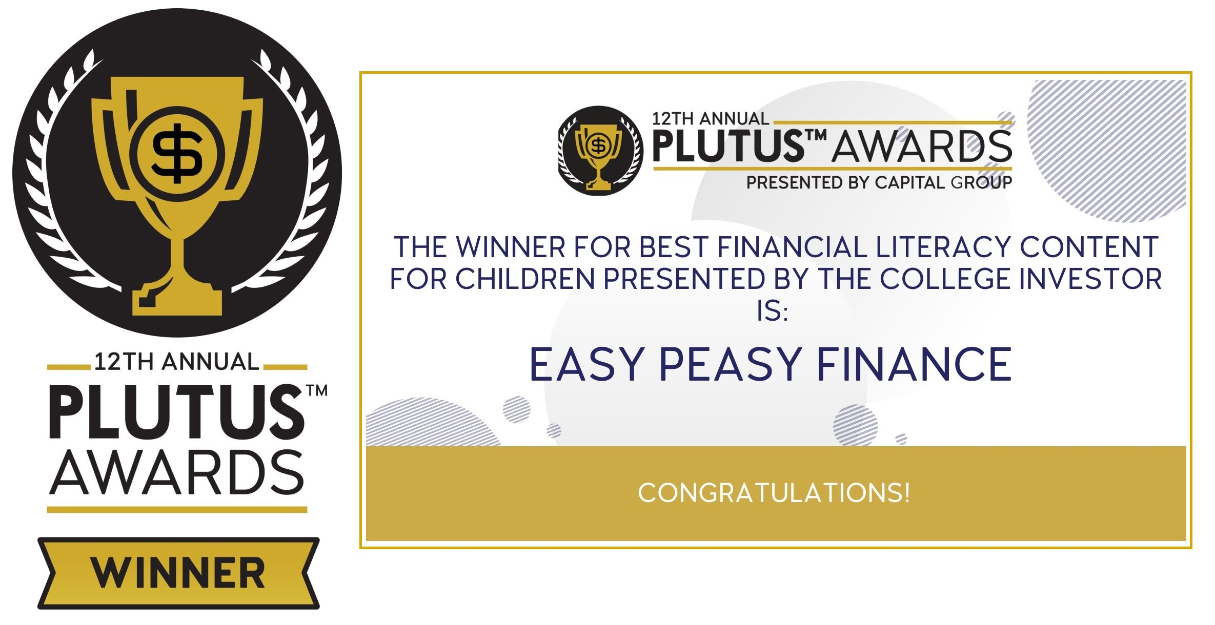 2021 Plutus Awards for the Best Financial Literacy Content for Children category